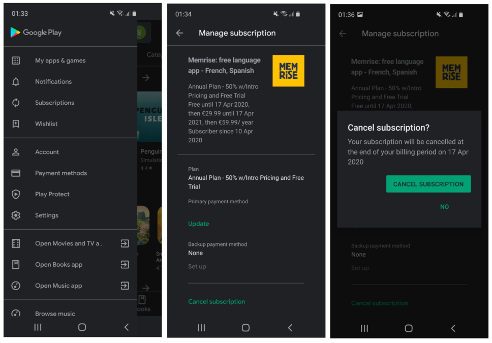 How to cancel a Google Play store subscription