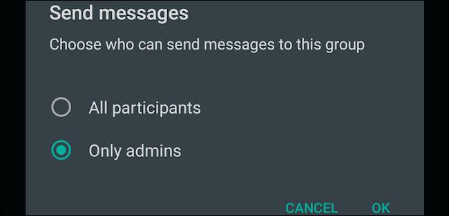 چگونه فقط ادمین گروه در واتساپ پیام دهد