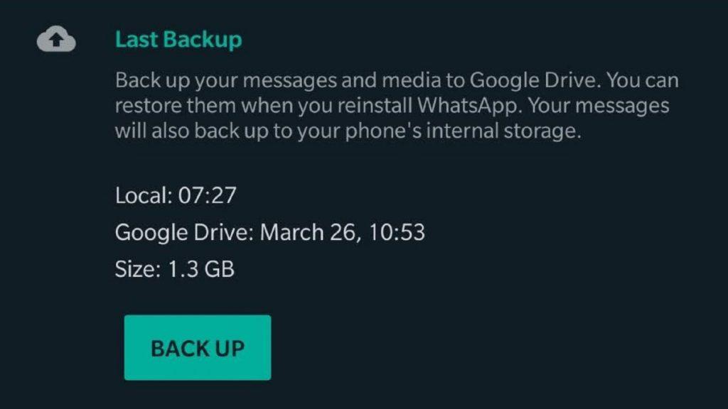پشتیبان گیری از اطلاعات واتساپ